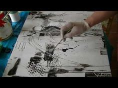 ▶ Abstract acrylic painting Black and White Abstrakte Acrylmalerei Schwarz und Weiß - YouTube
