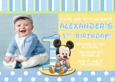 Custom baby mickey mouse 1st birthday invitations by itsjenuine baby mickey mouse 1st birthday digital invitation 11 filmwisefo