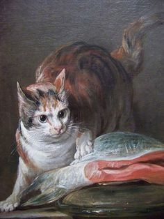"Jean-Baptiste-Siméon Chardin (French, 1699 – 1779) - Detail of the cat from ""Still Life with Cat and Fish"" - Oil painting, 1728 - Museo Thyssen-Bornemisza, Madrid"