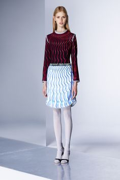 Pop of Illusion Black Top with a Wave of Red and a White Skirt with a Wave of Blue- Mary Katrantzou Pre-Fall 2016 Collection Photos - Vogue