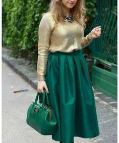 Midi Skirt Outfit Outfits Skirts Dressy Royal Green