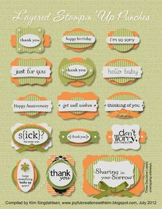 Layered Stampin Up Punches guide - good reference