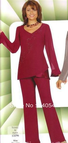 Elegent 2pc Mother of the Bride Pant Suits beautiful little v neck long sleeves outfit US $99.00