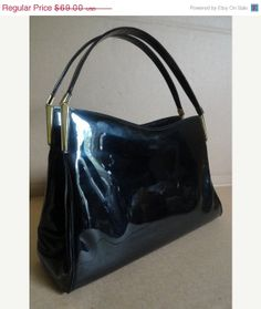 Vintage 1960s Handbag Block Black Patent Leather Glossy Classic Purse