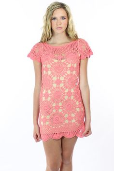 crochet cap sleeve dress in coral. @Melba Ellis Vincent, can totally see Lexi in this
