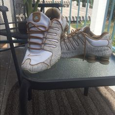 Nike shox with an extra kick Cream and gold linen Nike shox. Womens Nike Shoes Sneakers
