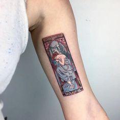 The Times Of The Day, Alfons Mucha tattoo by evakrbdk Phönix Tattoo, Piercing Tattoo, Get A Tattoo, Body Art Tattoos, Small Tattoos, Piercings, Tatoos, Lover Tattoos, Bicep Tattoos
