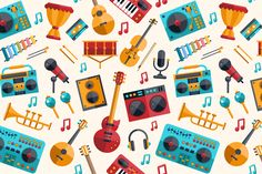 Musical Instruments Pattern by Decorwith.me Shop on Creative Market