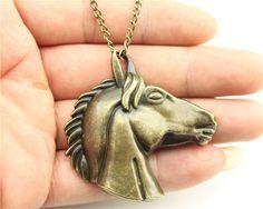 24pcs/lot Wholesale 2 colors 52*51mm big horse head pendant necklace, 70cm chain long necklace