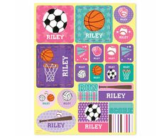 Sports #Personalized #Stickers - Pink