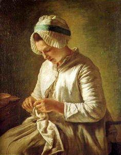 Femme tricotant par Françoise Duparc (1726-1778)