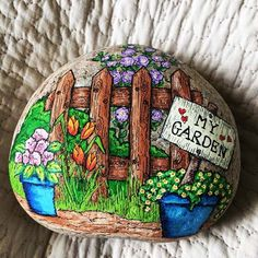 garden painting My Fairy Garden Painted Rock Garden Painting, Pebble Painting, Pebble Art, Stone Painting, Stone Crafts, Rock Crafts, Rock Painting Designs, Paint Designs, Casa Do Rock