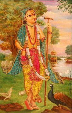 In Vraja, Gauri Das Pandit was Subala, one of the twelve Gopals. He is one of Nityananda Prabhu's dearest associates. Krishna Hindu, Radhe Krishna, Shiva, Mughal Paintings, Indian Art Paintings, Little Krishna, Krishna Painting, India Art, Krishna Images