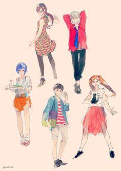 Children : Neon Genesis Evangelion(fan art)  Original authors are Yoshiyuki Sadamoto, Hideaki Anno, GAINAX Japan.