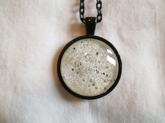 """White & Silver Glitter Nail Polish Pendant Necklace: 25mm / 1"""" Glass Circle in Black Tray Setting"""