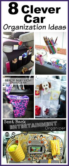 8 Clever Car Organization Ideas- You don't need to buy any fancy organizers to keep your car neat! Here are 8 clever (and inexpensive) car organization ideas! | car organizer, kids car organization ideas, backseat organizer, seat back organizer, DIY organization, easy organization, vehicle organizer, DIY car trash can, how to organize your car