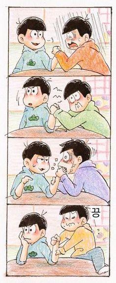 Their struggling faces Lolol And Ichimatsu just biting Karamatsu's hand. Osomatsu San Doujinshi, What's So Funny, Sans Cute, Comedy Anime, Another Anime, Ichimatsu, Anime Angel, Anime Comics, Anime Style