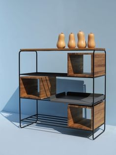 MODULO REGAŁ 99x129 minimalistyczny regał stalowo-drewniany polski design Mebloscenka Shelves, Home Decor, Shelf, Shelving, Shelving Units, Interior Design, Home Interiors, Decoration Home, Planks