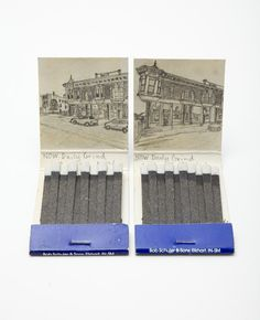 Vintage matchboxes- artist then draws what is at that address now, from images off google maps- very cool blend of retro & conceptual pencil sketching