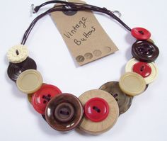 Brown Red and Cream Vintage Button Necklace by planetbuttondesigns, £13.00