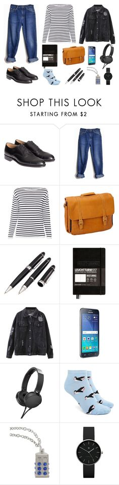 """school days #3"" by ilk172 on Polyvore featuring Mode, Tricker's, Lee, Clava, Natico, Leuchtturm1917, Samsung, Sony, Forever 21 und Hot Topic"