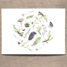 Botanical Mouse Print 5x7 Woodland Nursery Art by BurrowingHome