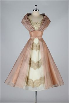 Vintage 1950's Luscious Organza and Lace Cocktail Dress