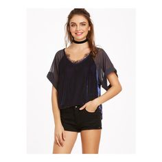 SheIn(sheinside) Navy Sheer Raglan Sleeve Lace Trim Velvet Top (£8.04) ❤ liked on Polyvore featuring tops, blouses, navy, short sleeve blouse, velvet top, transparent blouse, velvet blouse and short-sleeve blouse