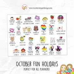 Calendar Stickers, Planner Stickers, Printable Planner, Printables, Vegetarian Day, Beer Day, Stop Bullying, Holiday Fun, October
