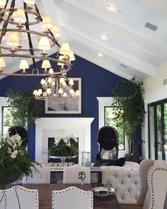 Living/dining combo, paint and woodwork idea. Living Dining Combo, Accent Walls In Living Room, Living Room Paint, Coastal Living Rooms, Condo Living, Living Spaces, Navy And White Living Room, Room Paint Colors, Front Rooms