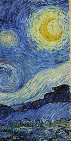 Van Gogh - The Starry Night (detail) ~ ca. 1889; oil on canvas, 28.7 × 36.2 in. Museum of Modern Art, New York