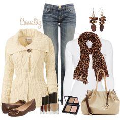"Nice combination    ""Cozy Cardigan, Mk Bag, Ballerina Flats"" by casuality on Polyvore    #DesignerHandbagsLove  #COM"