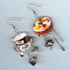 Cake and Tea cup Earrings tea bag cupcake by DesignsByAnnette, $21.00
