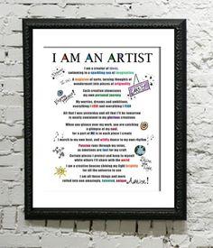 Ich bin ein Mantra kreative Inspiration 8 x 10 Print gewidmet alle Künstler Künstler-Gedicht