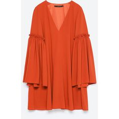 Zara Bell Sleeve Dress (€35) ❤ liked on Polyvore featuring dresses, brick, zara dresses, red dress, flared sleeve dress, bell sleeve dress and red bell sleeve dress