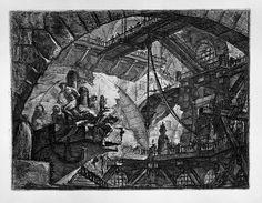 Piranesi | 10-Un gran arco enmarca la escena a la izquierda un grupo de condenados están atados rodilla en tierra o semicaidos, a la derecha de la imagen grandes cadenas, casi en el centro una gran lámpara cuelga de una polea, pasarelas y balconadas completan la imagen.