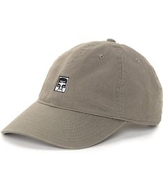 b1408a36 This Half Face Icon olive strapback hat from Obey shows off your tonal  style with a