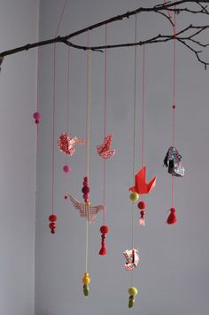 Mobil z gałęzi - beautiful handmade mobile with origami birds, beads and felted balls.