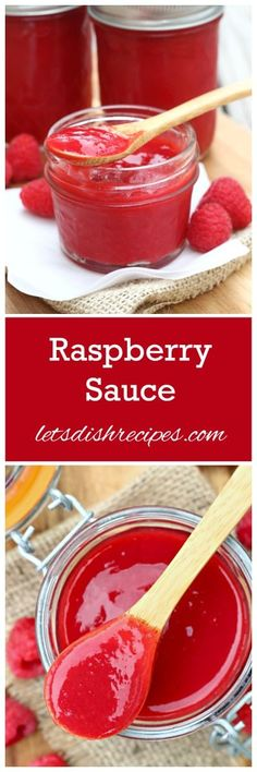 Simple Raspberry Sauce Recipe The perfect topping for so many desserts - ice cream, chocolate cake, cheesecake and more! Raspberry Recipes, Raspberry Sauce, Cheesecake Toppings, Dessert Sauces, Dessert Recipes, Salsa Dulce, Dips, Fruit Sauce, Sauces