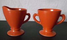 Vintage Hazel Atlas Ovide Creamer Sugar SET @iloveoldstuff #kitchenware #vintage