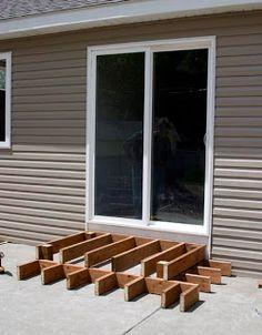 65 Ideas Wooden Patio Steps Doors For 2019 Concrete Patios, Wooden Patios, Brick Patios, Patio Steps, Outdoor Steps, Pergola Patio, Backyard Patio, Building A Deck, Patio Design