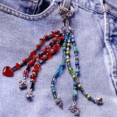 Jean Drop Strings Choose pewter or glass charms to personalize strings of beads and wear them on your favorite jeans!