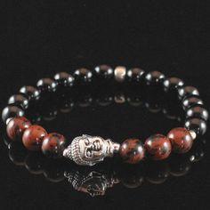 Mens Onyx Buddha Mala Bracelet, Strength Bracelet With Mahogany Obsidian