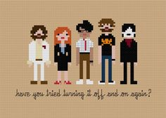 Pixel People - The IT Crowd - Cross-stitch PDF PATTERN from weelittlestitches on Etsy. Saved to cross stitch. Cross Stitching, Cross Stitch Embroidery, Hand Embroidery, Cross Stitch Patterns, Embroidery Ideas, It Crowd, Yarn Trees, Little Stitch, Nerdy