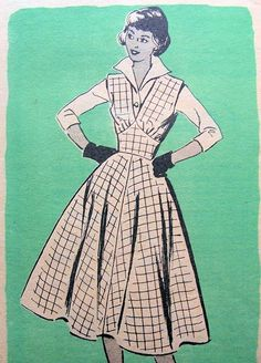 1950s FULL SKIRTED JUMPER, TAILORED BLOUSE PATTERN  MARIAN MARTIN 9024