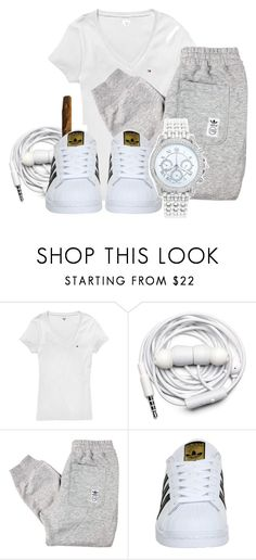 """""""tommy tommy"""" by gvlden-bvbx ❤ liked on Polyvore featuring Tommy Hilfiger, Urbanears, adidas and Lane Bryant"""