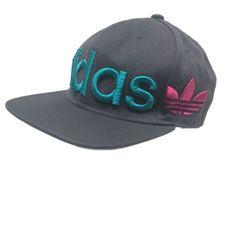 8c0cb71a694 Adidas Tresfoil Hat Big Logo Wrap Flat Bill Gray Teal Pink Snapback  Baseball Cap
