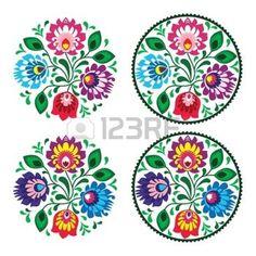folklore polonais: Broderie ronde ethnique avec des fleurs - motif vintage traditionnel de la Pologne Illustration