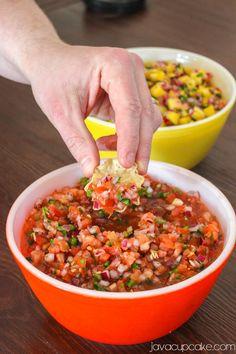 Homemade Salsa -- tomato, onion, lime, jalapeño, garlic, cilantro, chili powder, salt, pepper.