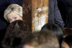 Peek-a-boo: Hillary sizes up her audience at a campaign launch party at Carter Hill Orchard in Concord, New Hampshire, on June 15, 2015. (Photo byBrian Snyder / Reuters)  via @AOL_Lifestyle Read more: http://www.aol.com/article/2016/06/20/heres-why-voters-dont-like-donald-trump-and-hillary-clinton/21398108/?a_dgi=aolshare_pinterest#fullscreen